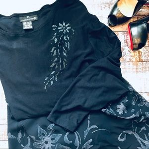 Carole Little II Navy Floral Skirt & Sequin Top